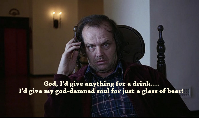 Card with a The Shining movie quote about drinking
