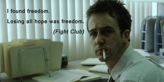 Ecard with a movie quote about freedom from Fight club