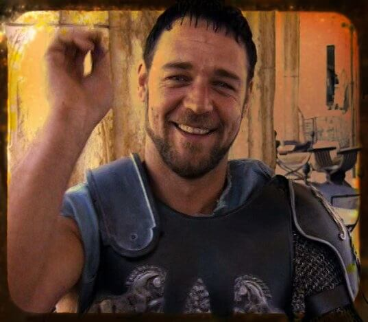Russell Crowe Gladiator smiling