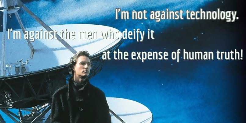 A card with a quote about truth from movie contact